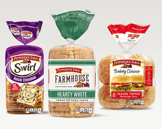 Pepperidge Farm Raisin Cinnamon Swirl, Farmhouse Hearty White, and Bakery Classics Sesame Topped Hamburger Buns